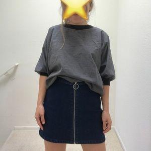 Zip-front dark denim skirt